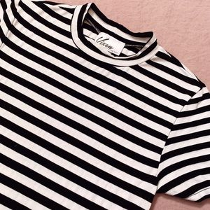 Vixen Black and White Stripe Mock Neck Top